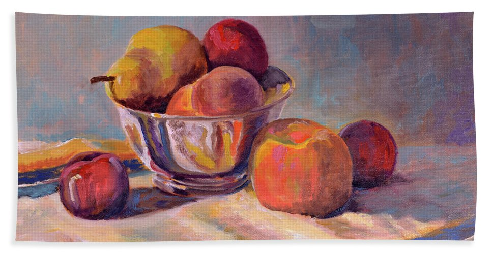 Still Bath Sheet featuring the painting Bowl With Fruit by Keith Burgess