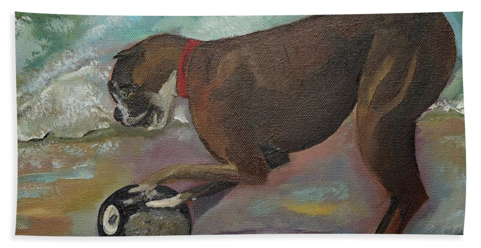 Boxer Bath Sheet featuring the painting Boxer On Beach by Jan Dappen