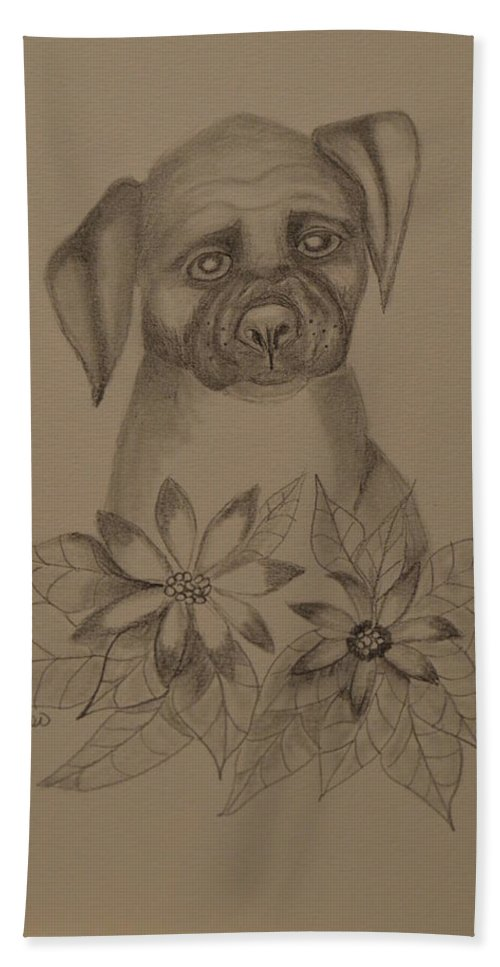 Boxer Pup 16-01 Bath Sheet featuring the drawing Boxer Pup 16-01 by Maria Urso