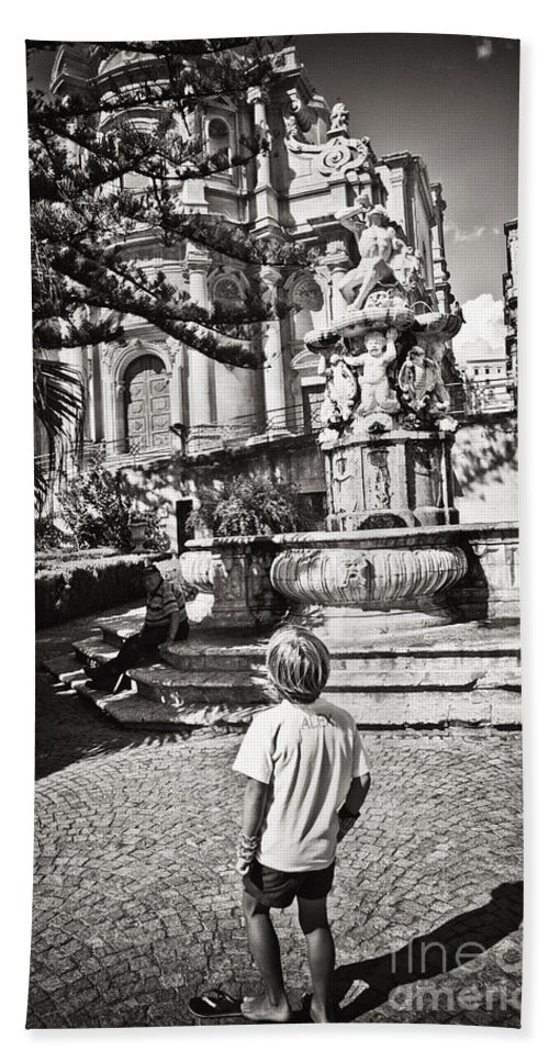 Boy Hand Towel featuring the photograph Boy At Statue In Sicily by Madeline Ellis