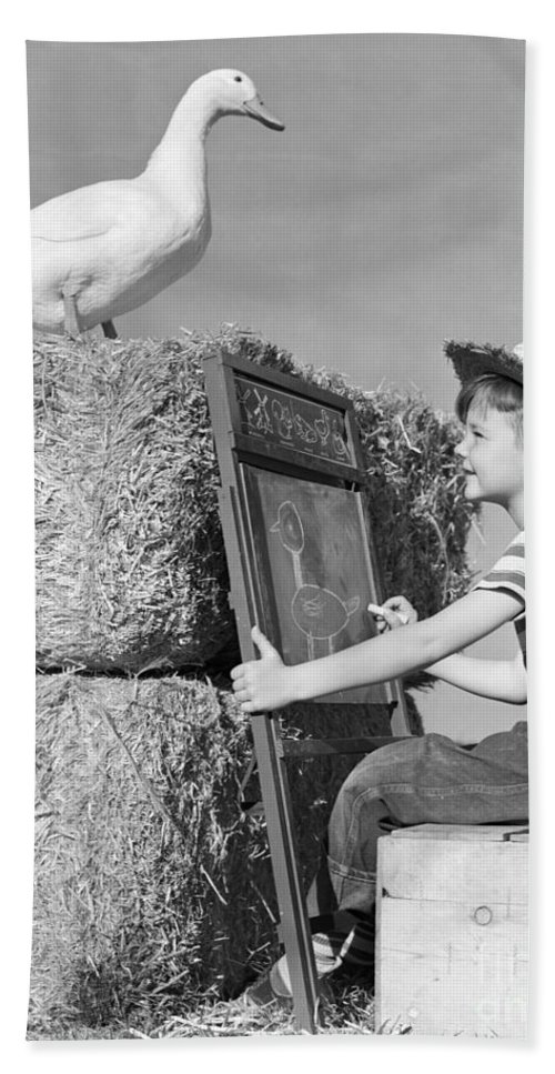1950s Bath Sheet featuring the photograph Boy Drawing Duck, C.1950s by H. Armstrong Roberts/ClassicStock