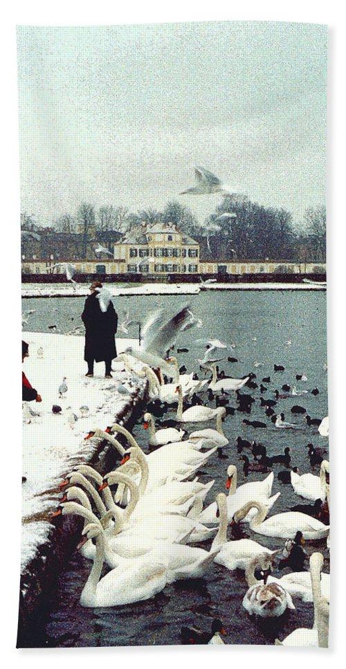 Swans Bath Sheet featuring the photograph Boy Feeding Swans- Germany by Nancy Mueller
