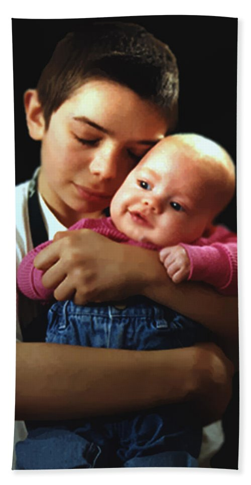 Children Hand Towel featuring the photograph Boy With Bald-headed Baby by RC DeWinter
