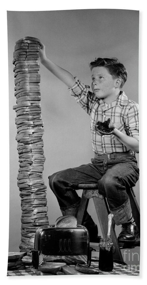 1950s Bath Sheet featuring the photograph Boy With Huge Stack Of Toast, C.1950s by H. Armstrong Roberts/ClassicStock