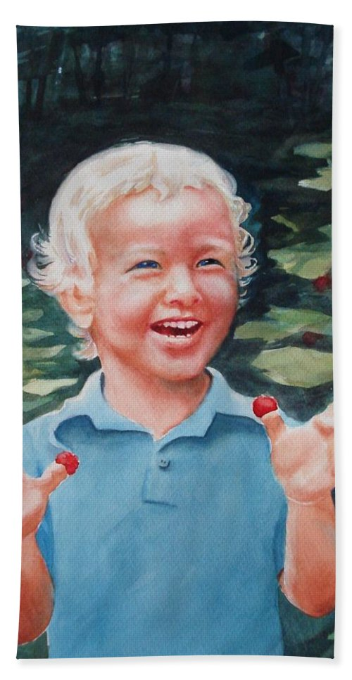 Boy Hand Towel featuring the painting Boy With Raspberries by Marilyn Jacobson