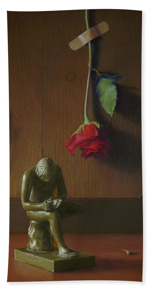 Still Life Hand Towel featuring the painting Boy With Thorn Spinario by Barbara Groff