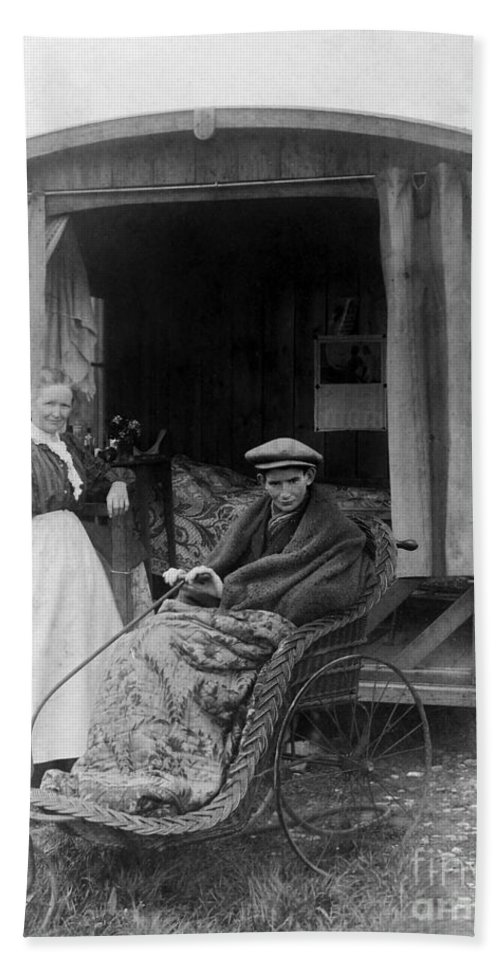 Historic Hand Towel featuring the photograph Boy With Tuberculosis In Bath Chair by Wellcome Images