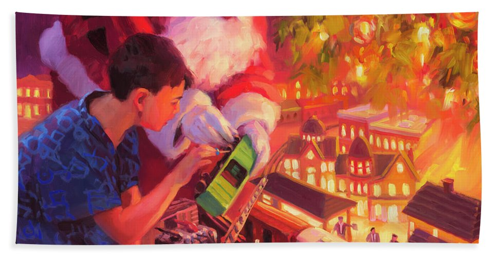 Santa Hand Towel featuring the painting Boys And Their Trains by Steve Henderson