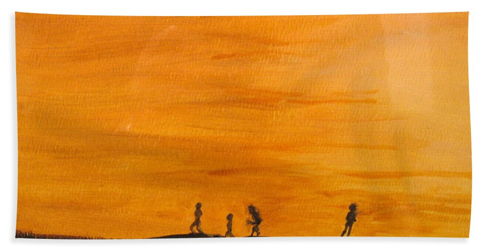 Boys Bath Towel featuring the painting Boys At Sunset by Ian MacDonald