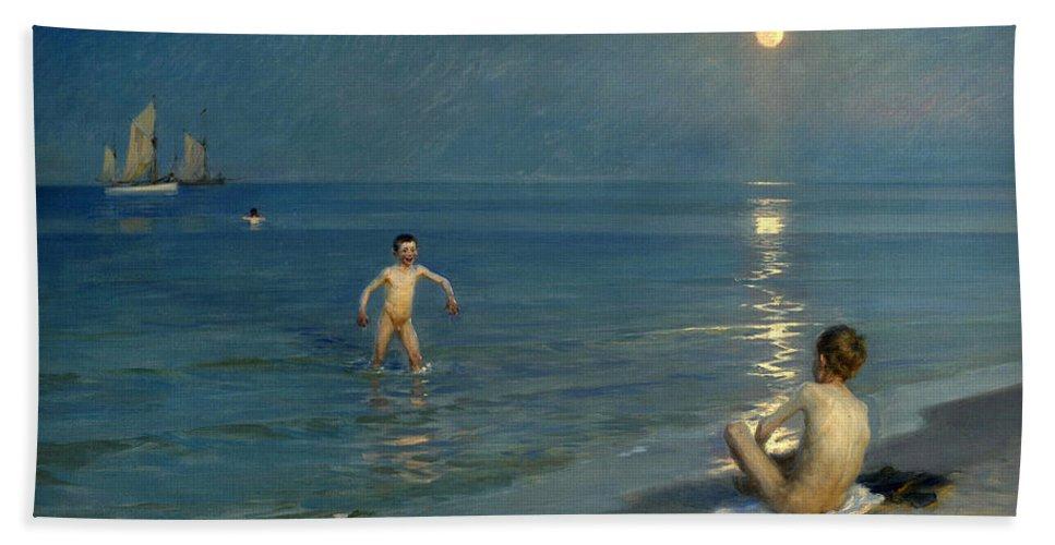 Peder Severin Kroyer Hand Towel featuring the painting Boys Bathing At Skagen. Summer Evening by Peder Severin Kroyer