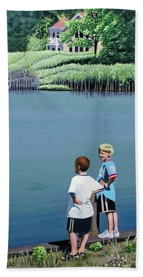 Landscape Bath Towel featuring the painting Boys Of Summer by Kenneth M Kirsch