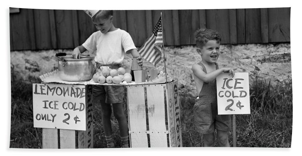 1940s Bath Sheet featuring the photograph Boys Selling Lemonade, C.1940s by H. Armstrong Roberts/ClassicStock