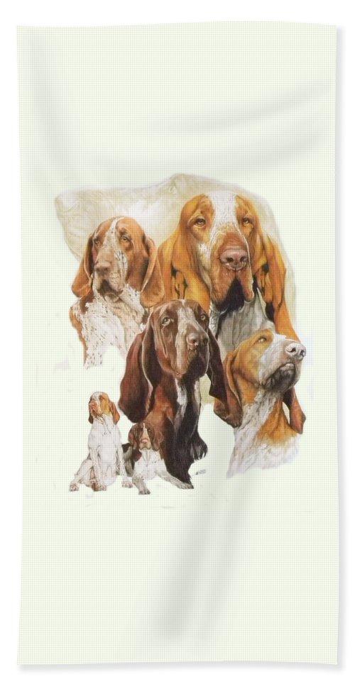 Gundog Bath Towel featuring the mixed media Bracco Italiano W/ghost by Barbara Keith