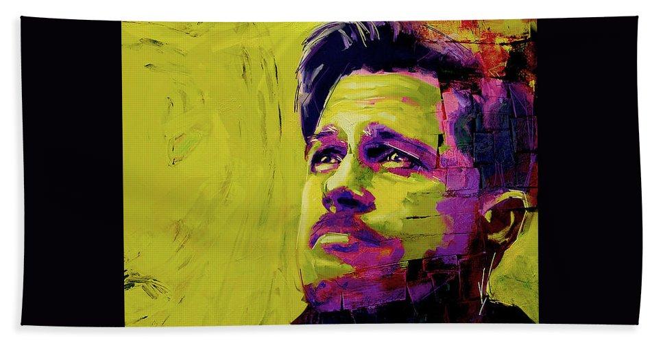 Hand Towel featuring the painting Brad Pitt Fury by Juan Pereira