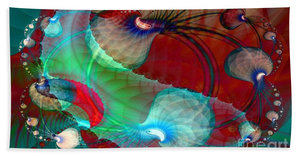 Dgital Hand Towel featuring the digital art Brains In Motion 5 by Ron Bissett