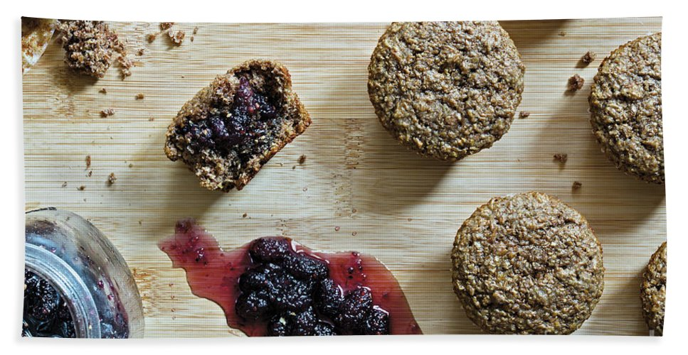 Mulberry Hand Towel featuring the photograph Bran Muffins With Mulberry Jam by Etienne Outram