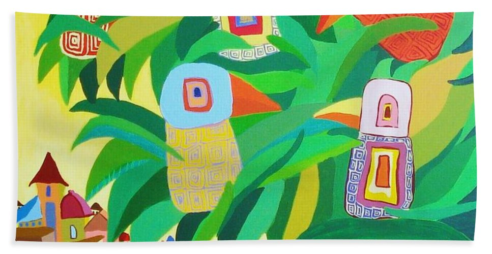 Birdlandscape Paintings Hand Towel featuring the painting Branch Over The City by Mimi Revencu