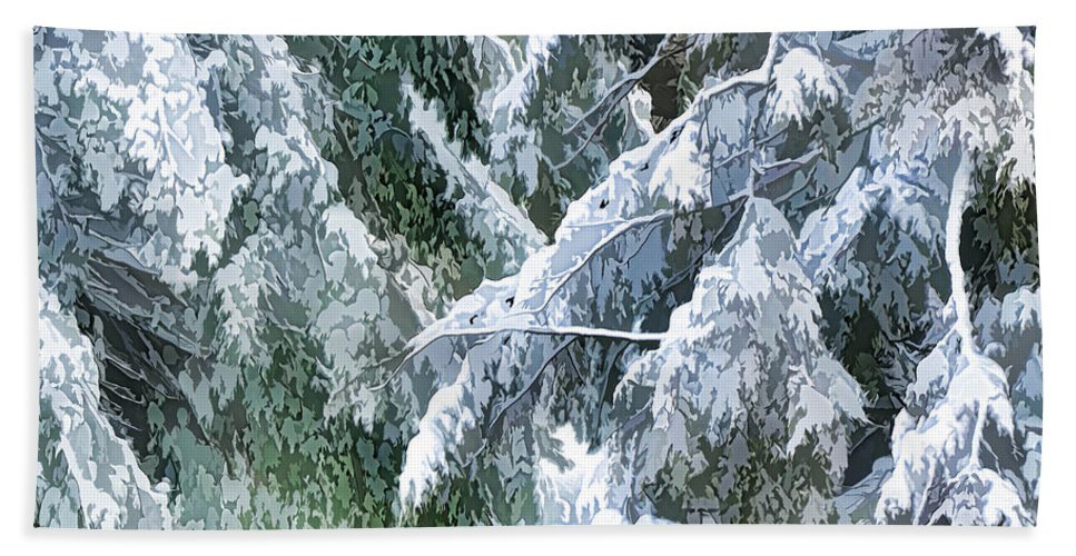 Trees Hand Towel featuring the painting Branches In Winter Season With Fresh Fallen Snow by Jeelan Clark