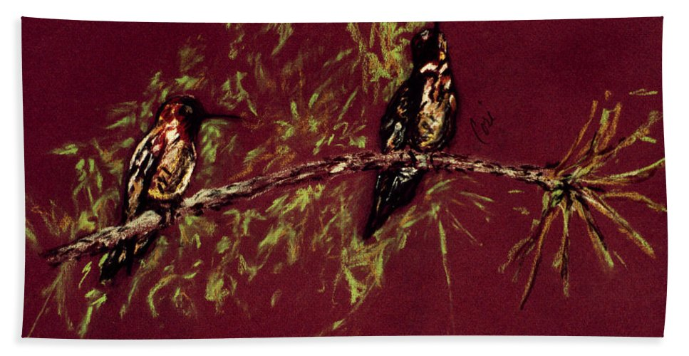 Humming Birds Hand Towel featuring the drawing Branching Out by Cori Solomon