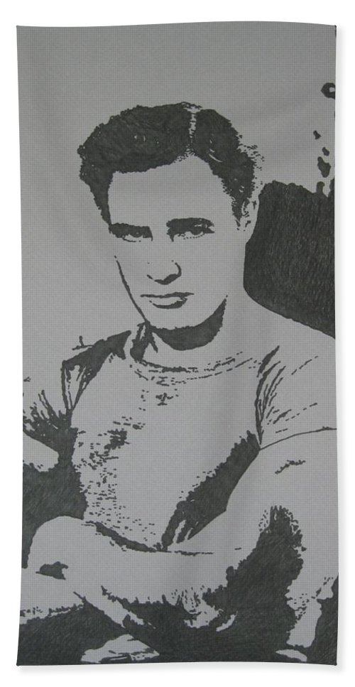 Marlon Brando Hand Towel featuring the drawing Brando by Lynet McDonald