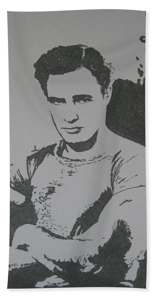 Marlon Brando Bath Towel featuring the drawing Brando by Lynet McDonald