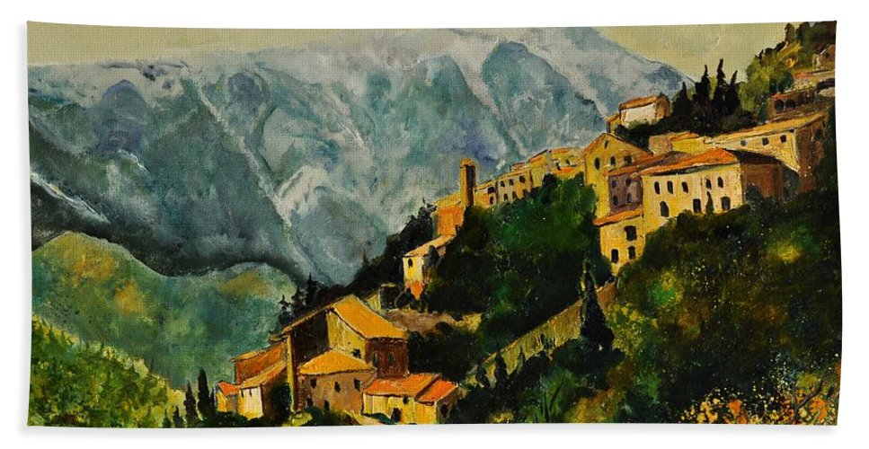 Landscape France Provence Bath Sheet featuring the painting Brantes by Pol Ledent