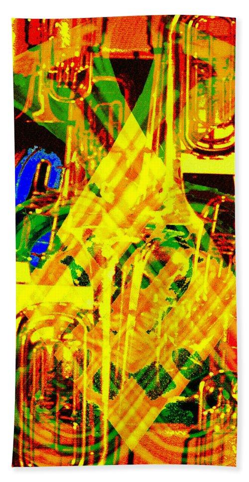 Festive Bath Sheet featuring the digital art Brass Attack by Seth Weaver