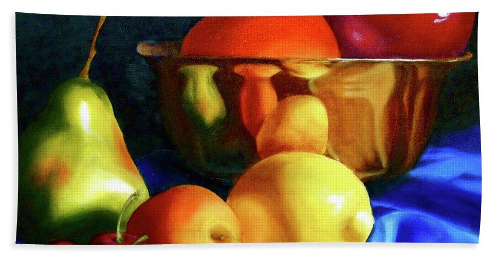 Still Llife Hand Towel featuring the painting Brass Ensemble by Susan A Becker