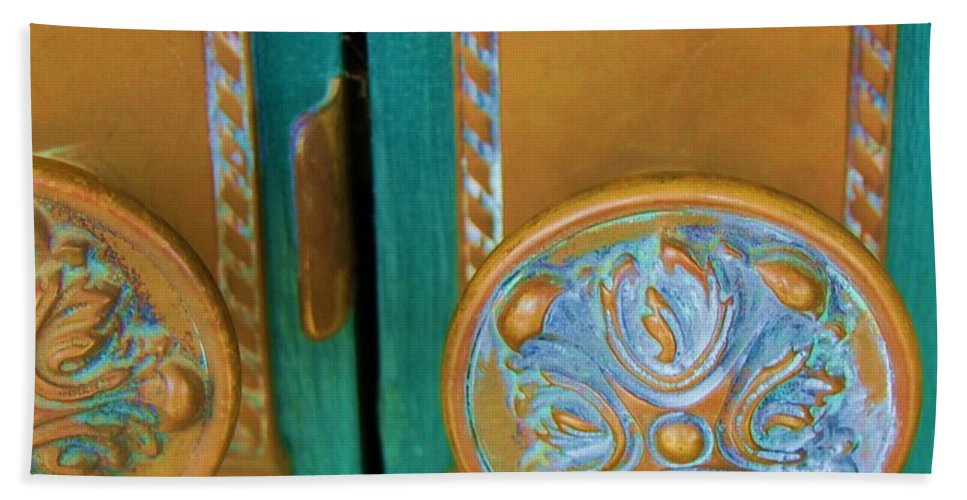 Door Hand Towel featuring the photograph Brass Is Green by Debbi Granruth