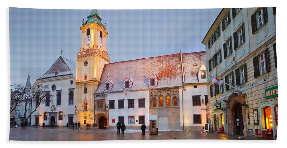 Bratislava Hand Towel featuring the photograph bratislava 'III by Milan Gonda
