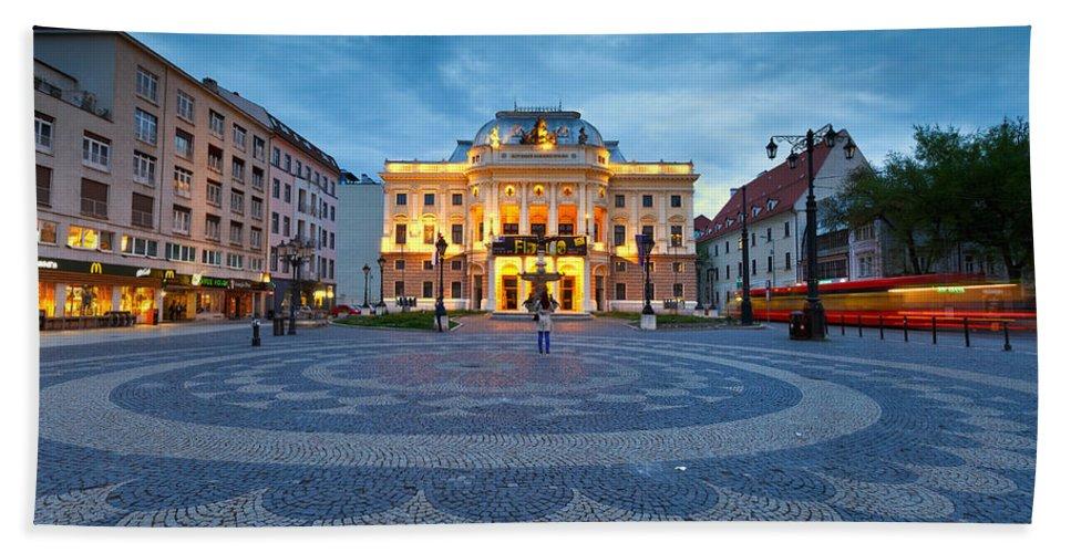 Slovakia Hand Towel featuring the photograph bratislava 'XXVI by Milan Gonda