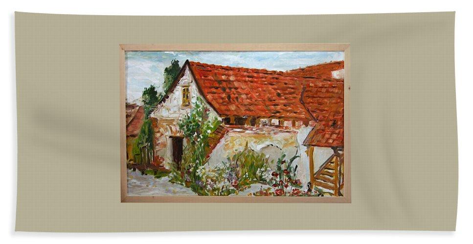 Landscape Bath Towel featuring the painting Bratri Truhlari by Pablo de Choros