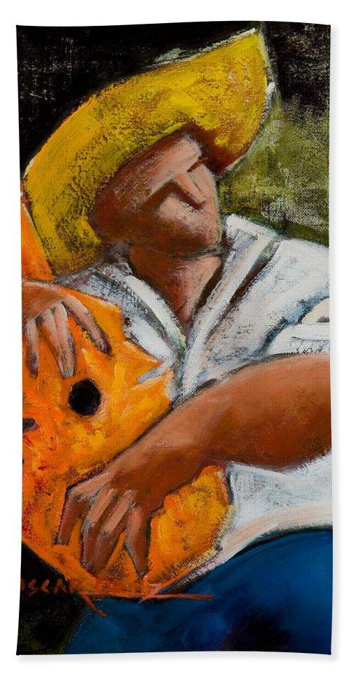 Puerto Rico Hand Towel featuring the painting Bravado Alla Prima by Oscar Ortiz