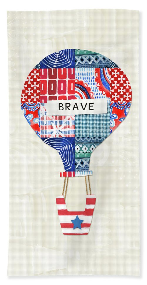 Red Bath Towel featuring the mixed media Brave Balloon- Art By Linda Woods by Linda Woods