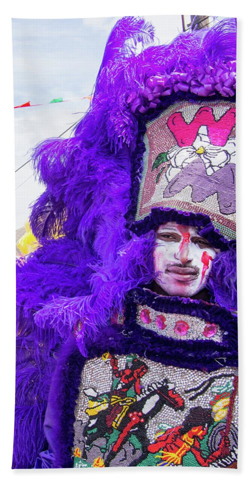 Mardi Gras Indian Hand Towel featuring the photograph Brave by William Morgan