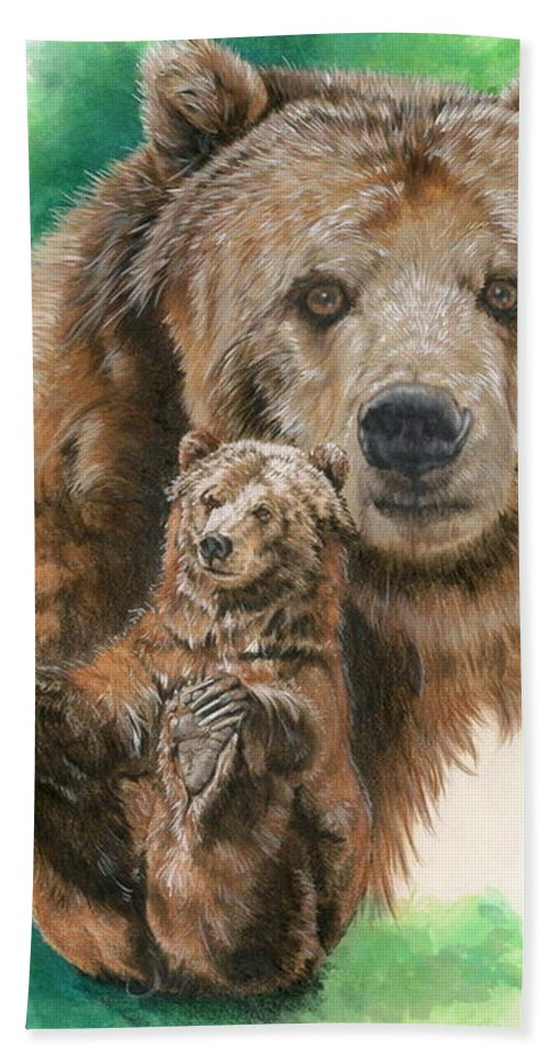 Bear Hand Towel featuring the mixed media Brawny by Barbara Keith