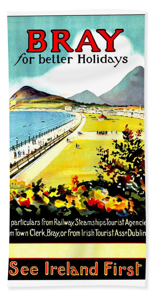 Bray Hand Towel featuring the painting Bray, Ireland, Coast, Scenery by Long Shot