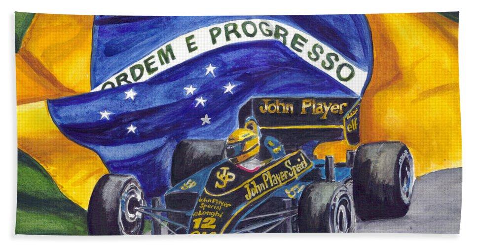Ayrton Senna Bath Sheet featuring the painting Brazil's Ayrton Senna by Clara Sue Beym