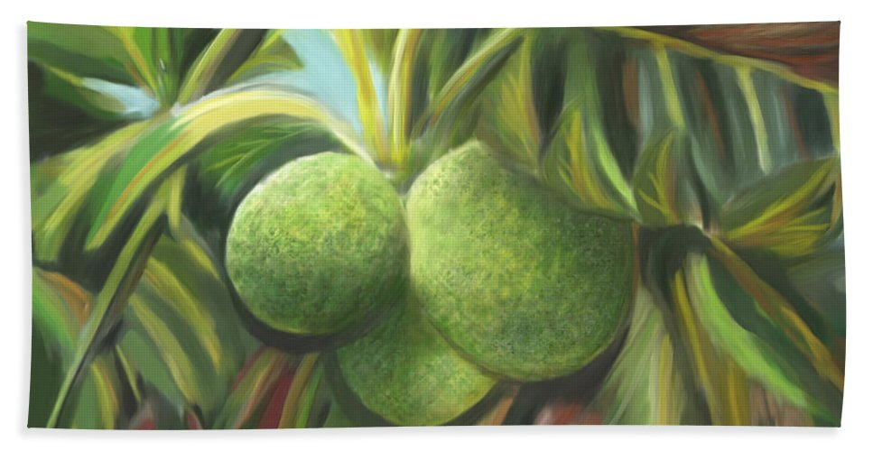 Fruit Bath Sheet featuring the painting Breadfruits St Kitts by James Mingo