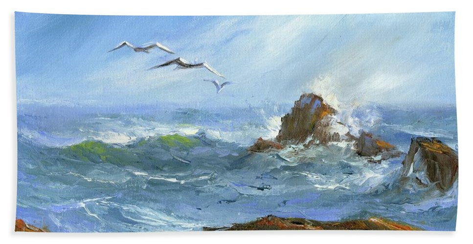 Original Seascape Hand Towel featuring the painting Breaker by Sharon Abbott-Furze