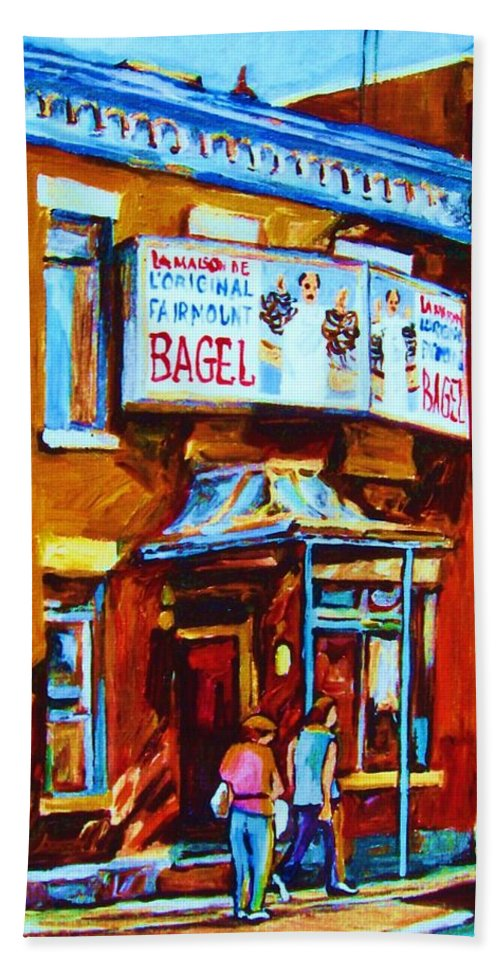 Fairmount Bagel Bath Towel featuring the painting Breakfast At The Bagel Cafe by Carole Spandau