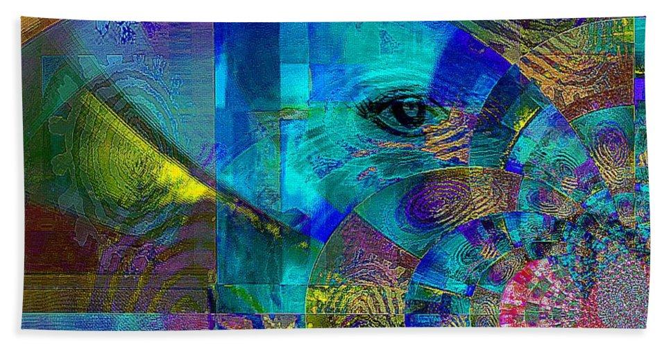 Fania Simon Hand Towel featuring the mixed media Breaking Borders by Fania Simon
