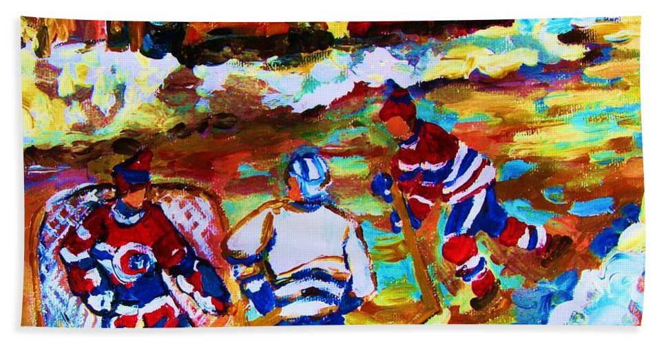 Streethockey Bath Towel featuring the painting Breaking The Ice by Carole Spandau