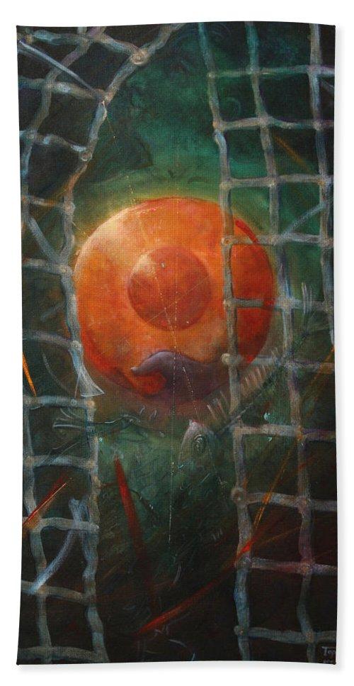 Orange Bath Towel featuring the painting Breakthrough by Darko Topalski