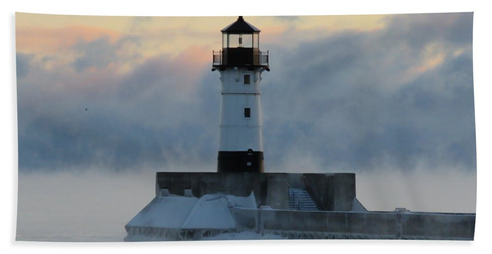 Lighthouses Hand Towel featuring the photograph Winter's Breath by Alison Gimpel