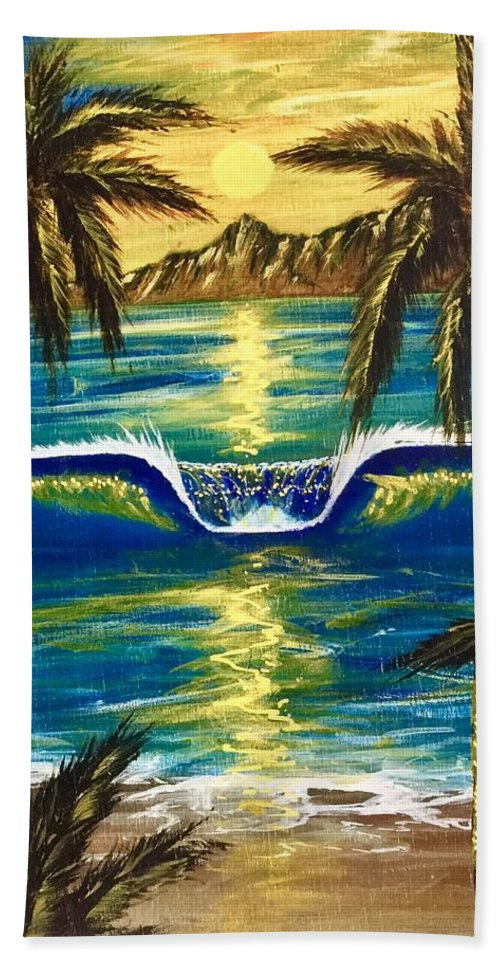 Tropical Bath Towel featuring the painting Breathe In The Moment by Paul Carter