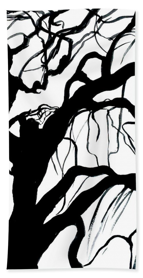 Black And White Hand Towel featuring the painting Breeze by Leila Atkinson