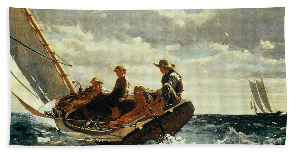 Breezing Up (a Fair Wind) 1873-76 (oil On Canvas) By Winslow Homer (1836-1910)boat Hand Towel featuring the painting Breezing Up by Winslow Homer