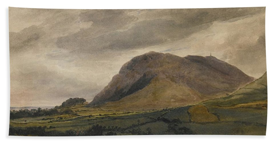 David Cox Bath Sheet featuring the painting Breidden Hill In The Welsh Borders by MotionAge Designs