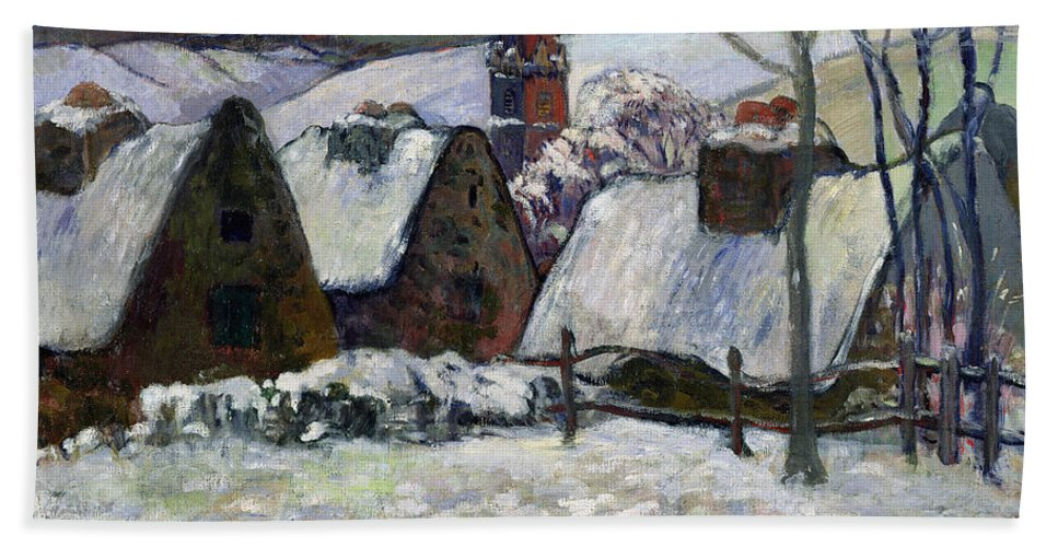 Breton Village Under Snow Bath Towel featuring the painting Breton Village Under Snow by Paul Gauguin